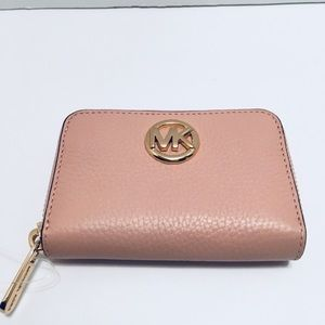 Michael Kors Pink Fulton Zip Around Coin Case New